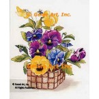 Purple Yellow Pansies In Basket  - #AOR102  -  PRINT