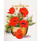 Poppies in Brass Container  - #AOR103  -  PRINT