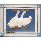 Geese On Blue  - #BOR36  -  PRINT