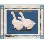 Geese On Blue  - #BOR37  -  PRINT