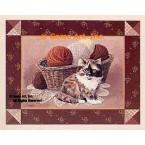 Cat & Knitting Basket  - #BOR41  -  PRINT