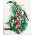 Ruby-Throated Hummingbirds & Foxglove  - #COR109  -  PRINT
