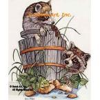 Raccoons & Frog  - #COR31  -  PRINT