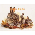 Rabbits At Autumn  - #COR90  -  PRINT
