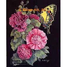 Butterfly & Flowers  - #ZOR1018  -  PRINT