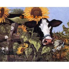 Cow In The Sunflowers  - ZOR326  -  PRINT