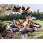 Cats In Birdbath  - #ZOR336  -  PRINT