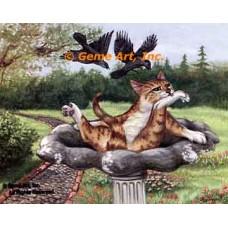 Cat In Birdbath  - ZOR336  -  PRINT