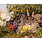 Rabbits In The Flowers  - ZOR343  -  PRINT