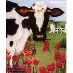 Cow With Tulips  - #ZOR349  -  PRINT