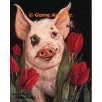 Pig, Bee, & Tulips  - #ZOR350  -  PRINT