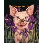 Pig, Butterfly, & Irises  - #ZOR351  -  PRINT