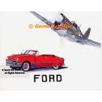 Curtiss P-40 (Flying Tiger) Aircraft, 1950 Ford Custom Convertible  - #MOR305  -  PRINT
