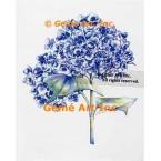 Blue Hydrangeas  - #WOR142  -  PRINT