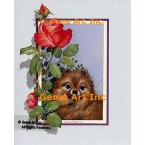 Pomeranian With Rose  - ROR122  -  PRINT
