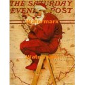 Santa At The Map  - #BNR0233  -  PRINT