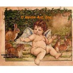 Cherub With Rabbits  - #YOR34  -  PRINT
