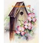 Dogwood & Birdhouse  - #SOR100  -  PRINT