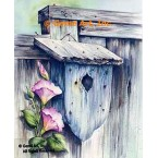 Birdhouse On Fence  - #SOR101  -  PRINT