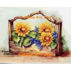 Sunflowers & Lilacs In Wood Box  - #SOR113  -  PRINT
