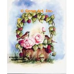 Bird with Rose & Raspberry Basket  - #SOR116  -  PRINT
