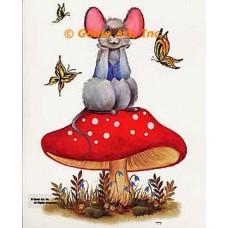 Mouse Resting On Mushroom  - #SOR40  -  PRINT