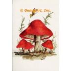 Butterfly & Red Mushrooms  - #SOR62  -  PRINT