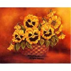Yellow Pansies In Basket  - #SOR70  -  PRINT