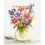 Iris & Lilies In Vase  - #SOR94  -  PRINT
