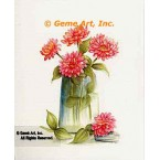 Pink Zinnias In Jar  - #SOR96  -  PRINT