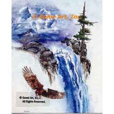 Eagle At Waterfall  - LOR410  -  PRINT