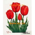 Red Tulips  - #IOR122  -  PRINT