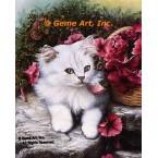 Cat & Petunias  - IOR158  -  PRINT