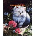 Cat & Geraniums  - #IOR159  -  PRINT