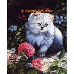 Cat & Geraniums  - IOR159  -  PRINT
