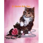 Cat with Pearls & Rose  - #IOR161  -  PRINT