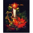 Christmas Candle & Poinsettia  - #IOR214  -  PRINT