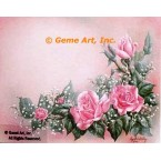 Pink Roses With Baby Breath  - #IOR216  -  PRINT