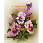 White, Purple, & Lavender Pansies  - #IOR58  -  PRINT