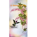 Hummingbirds with Bleeding Hearts  - #IOR217  -  PRINT