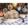 Cat At Christmas  - #ZOR709  -  PRINT