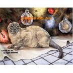 Cat At Christmas  - #ZOR709  -  PRINT