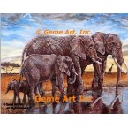 Elephants At Water  - #ZOR715  -  PRINT