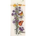 Purple Flowers & Butterflies  - #TOR621  -  PRINT
