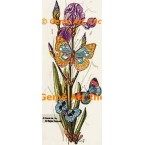 Purple Iris & Butterflies  - #TOR622  -  PRINT