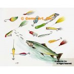 Fish with Hooks  - #TOR5276  -  PRINT