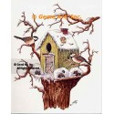 Birdhouse In Winter  - #TOR5298  -  PRINT
