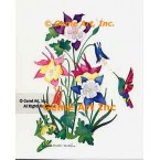 Hummingbird, Frog & Columbine  - #LOR104  -  PRINT