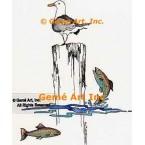 Seagull & Fish  - #LOR116  -  PRINT