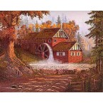 Mill With Water Wheel  - #DOR7  -  PRINT